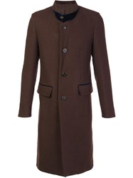 Umit Benan Notched Lapel Mid Coat Brown
