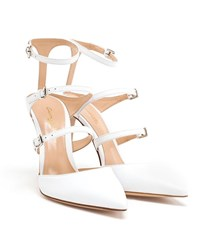 Gianvito Rossi Buckled Leather Pumps White Denim