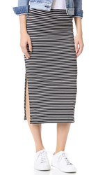 Atm Anthony Thomas Melillo Striped Rib Skirt Black White Stripe