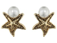 Oscar De La Renta Pave Sea Star Pearl Button P Earrings Light Gold Earring