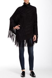 Romeo And Juliet Couture Turtleneck Fringe Poncho Black