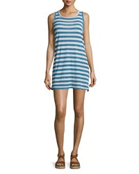 Current Elliott The Muscle Tee Striped Tank Dress Blue Wayfarer Women's