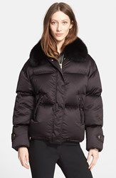 Women's Burberry London Goose Down Puffer Jacket With Removable Genuine Fox Fur Collar