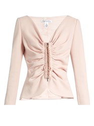 Oscar De La Renta Ruched Stretch Wool Blend Tailored Jacket Light Pink