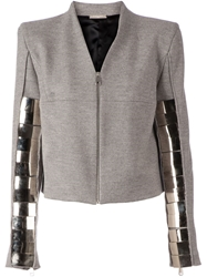 Aurelie Demel Metal Panel Zip Jacket Grey