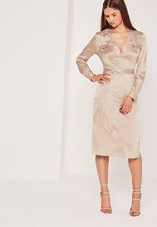 Missguided Silky Midi Shirt Dress Nude Beige