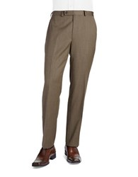 Lauren Ralph Lauren Herringbone Flat Front Pants Brown