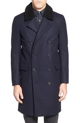 Men's Theory Trim Fit Wool Blend Overcoat With Genuine Shearling Collar