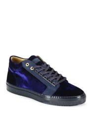 Android Velvet Lace Up Sneakers Navy