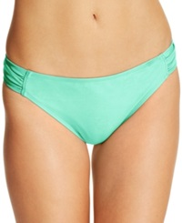 California Waves Ruched Side Tab Bikini Bottom Women's Swimsuit Mint