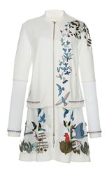 Rahul Mishra Hand Embroidered Long Flared Jacket White