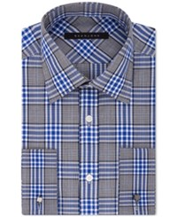 Sean John Men's Classic Fit Blue Plaid Dress Shirt Bright Blue
