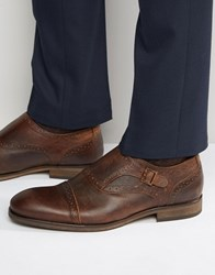Selected Homme Bolton Leather Monk Shoes Brown
