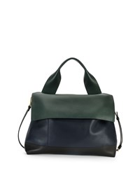 Colorblock Satchel Bag W Strap Navy Green Black Marni Navy Green