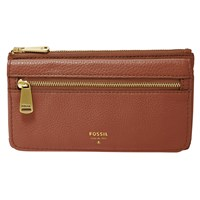 Fossil Preston Flap Leather Clutch Purse Brown