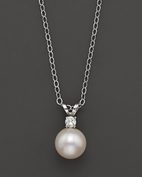 Bloomingdale's Cultured Freshwater Pearl And Diamond Pendant Necklace In 14K White Gold 16 No Color