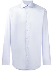 Canali Slim Fit Patterned Shirt Blue