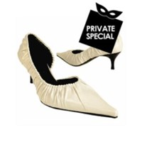 Albano Ivory Ruched Calfskin Side Dip Pump Shoes