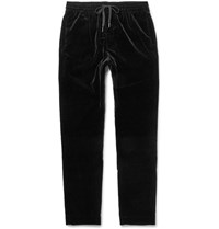 Tomas Maier Drawstring Stretch Cotton Velvet Trousers Black