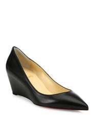 Christian Louboutin Leather Point Toe Wedge Pumps Black