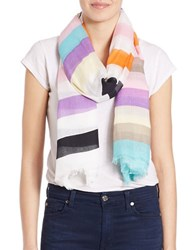 Lord And Taylor Striped Fringe Scarf Pink