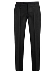 Incotex Slim Leg Wool Flannel Trousers Black