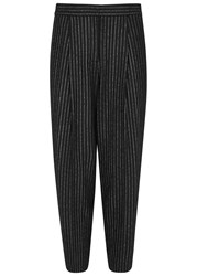Dkny Pinstriped Cropped Wool Blend Trousers Black