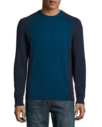 Michael Kors Crewneck Long Sleeve Colorblock Sweater Midnight