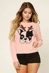 Forever 21 Holiday Dog Graphic Pj Sweater Pink Black