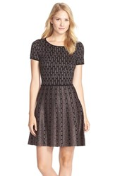 Women's Cece By Cynthia Steffe 'Sage' Metallic Fit And Flare Sweater Dress