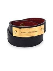 Alexander Mcqueen Logo Metal Plate Leather Bracelet Black