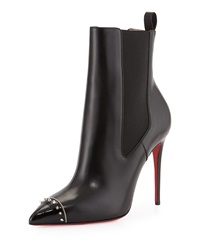 Banjo Spiked Cap Toe Red Sole Bootie Black Christian Louboutin