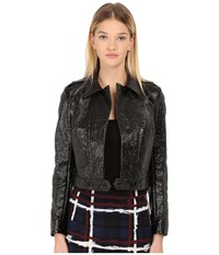 Marc By Marc Jacobs Coated Crinkle Pleather Mini Military Jacket Black