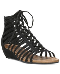 Carlos By Carlos Santana Cornelia Gladiator Lace Up Wedge Sandals Women's Shoes Black
