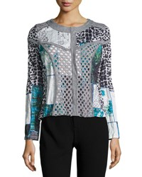 Alberto Makali Paneled Animal Print Zip Front Jacket Grey White