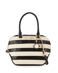 Betsey Johnson Sequined Stripe Dome Satchel Bag Black White