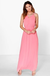 Boohoo Mary Embellished Neck Maxi Dress Coral