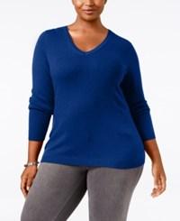 Charter Club Plus Size Cashmere V Neck Sweater Only At Macy's Bright Blue