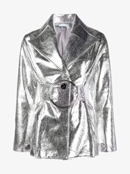 Rejina Pyo Metallic Faux Leather Jacket Silver