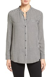 Nordstrom Women's Collection Check Band Collar Shirt