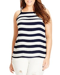 City Chic Striped Tank French Navy