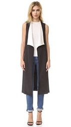 Alice Olivia Keaton Long Draped Shawl Collar Vest Black Cream