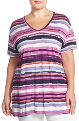 Plus Size Women's Sejour V Neck Tee Purple Navy Stripe Print