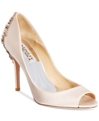Badgley Mischka Nilla Peep Toe Evening Pumps Women's Shoes Light Pink