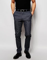 Reiss Prince Of Wales Check Trousers In Slim Fit Navy