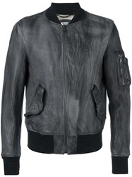 Pihakapi Leather Bomber Jacket Grey