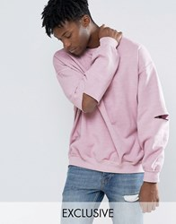 Reclaimed Vintage Oversized Sweatshirt With Overdye And Slashed Elbows New Pink