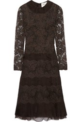 Valentino Lace And Silk Georgette Paneled Midi Dress Dark Brown