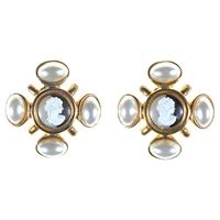 Alice Joseph Vintage Acrylic Cameo Pearl Drop Earrings White