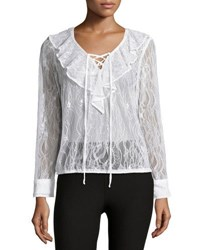 Label By 5Twelve Ruffle Front Lace Blouse Ivory